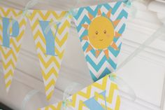 Happy Birthday Pennant Flag Yellow & Blue by DreamPartyPaperie, $26.00