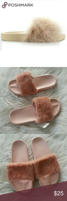 NWT- FUZZY SLIDES - IN ALL BLUSH PINK Can't go wrong with fuzzy comfy slides.  In BLUSH PINK ONLY- cream sold out!   Can order more, please just let me know and I will order your size.   🚨 PRICE FIRM UNLESS BUNDLED 🚨 Boutique Shoes
