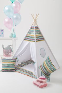 FREE SHIPPING Teepee Set for Kids Canvas Play Tent Best Teepee Kids, Teepee Tent, Tents, Cabana, Cactus Drawing, Kids Canvas, Throw Cushions, Kidsroom, Hanging Chair