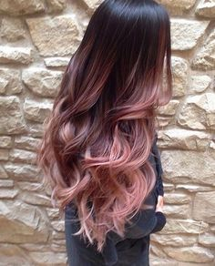 Cascading Pink Waves with Ombre Bayalage. Are you looking for rose gold hair color hairstyles? See our collection full of rose gold hair color hairstyles and get inspired! Cabelo Rose Gold, Ombre Rose Gold Hair, Purple Hair, Dyed Hair Ombre, Hair Tips Dyed, Dip Dye Hair Brunette, Pastel Ombre Hair, Brown Hair Rose Gold Ombre, New Hair