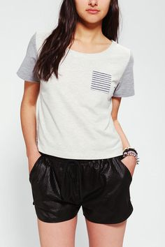 Chambray Pocket Short-Sleeve Sweatshirt / Family / Urban Outfitters / $59.00 / Hand wash