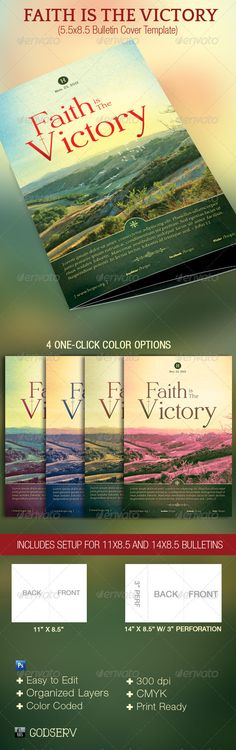 Faith Victory Church Bulletin Template - #Miscellaneous Print #Templates Download here: https://graphicriver.net/item/faith-victory-church-bulletin-template/3226383?ref=alena994