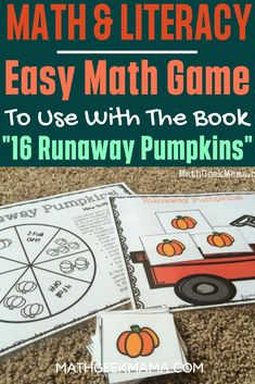 This book is so cute and I love this game to go with it! So fun for Fall!  This is great for first grade math or second grade math!  #easymathgame #freemathworksheet #mathandliteracy #firstgrademath #secondgrademath Easy Math Games, Math Card Games, Kindergarten Math Games, Free Printable Math Worksheets, Math Literacy, Homeschool Math, Math Classroom, Literacy Activities, Fun Math