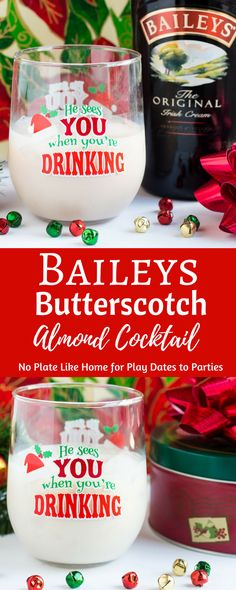 The Bailey's Butterscotch Almond Cocktail is a light, easy cocktail recipe that is perfect for your Christmas party or for an evening at home. Make a single drink, or mix it in a pitcher to make your holiday party even easier! https://playdatesparties.com/baileys-butterscotch-almond-cocktail/