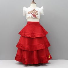 Pre Order: Giraffe Embroidery Top With Red Ghagra Pretty Dresses For Kids, Mom And Baby Dresses, Little Girl Dresses, Girls Dresses, Kids Dress Wear, Kids Gown, Kids Frocks Design, Baby Frocks Designs, Kids Ethnic Wear