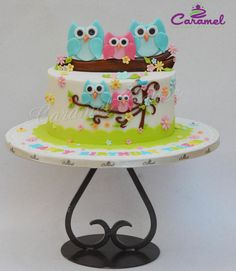 Cute Owl cake by Caramel Doha