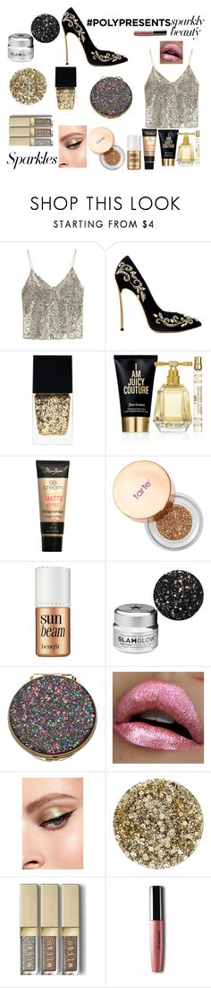 """""""#PolyPresents: Sparkly Beauty"""" by rebeccadavisblogger ❤ liked on Polyvore featuring beauty, Alice + Olivia, Witchery, Juicy Couture, Sephora Collection, Benefit, GlamGlow, Kate Spade, Smith & Cult and contestentry"""