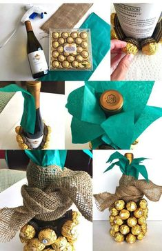 Kreative 10 creative ideas on how to pack and decorate wine bottles - Pack wine bottles, decorate bottle as pineapple, decorate with chocolates Best Picture For food id - Pineapple Gifts, Diy Gifts For Mom, Photomontage, Gift Wrapping, Diy Crafts, Homemade, Crafty, Birthday, Wine Bottles