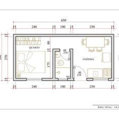 relocate door to wall opposite bathroom, then reposition refrigerator into former door space, now a solid wall. Apartment Layout, Apartment Plans, Studio Apartment, Apartment Design, Tiny House Cabin, Small House Plans, House Floor Plans, Plan Chalet, Flat Plan