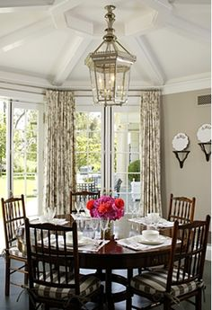 Ceiling Treatment, window treatment and of course the round table!!!!