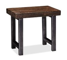 Griffin Reclaimed Wood Side Table #potterybarn bedside table alternative - reclaimed wood & iron legs