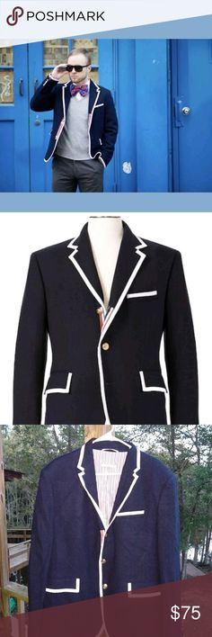 f59caee5967ed Thom Browne NM Target Navy Blue Wool Blazer XL