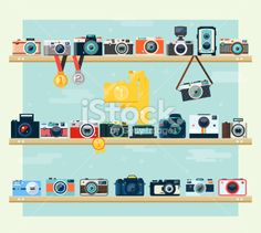 Photo camera icons set on the shelf Royalty Free Stock Vector Art Illustration
