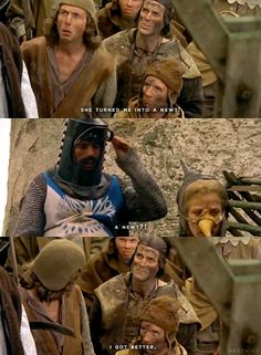 Monty Python and the Holy Grail. If you love the movie I dare you to try not to say the lines in the voices. You. Will. Fail. (:
