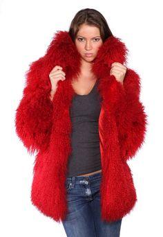Red Faux Fur Coats Women