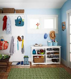 Declutter Your Entryway  If you have 5 minutes: Straighten up the shoes and coats.     If you have 10 minutes: Entryways, as coming-and-going spots, tend to collect more than their fair share of clutter. Do a quick cleanup, and return items to their rightful places.     If you have 15 minutes: Hang hooks or pegs to give coats and bags a home instead of the floor