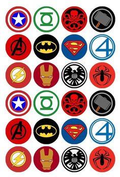 24 x Superhero Logos Edible Cupcake Toppers Pre-Cut in Home & Garden, Parties, Occasions, Cake Logo Avengers, Marvel Logo, Superhero Symbols, Avengers Symbols, Logo Maker, Nurses Week Quotes, Edible Cupcake Toppers, Fondant Cupcakes, Superhero Cupcake Toppers