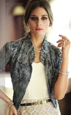 So elegant.  Love the grayish blue pullover with pearls.  LOVE.