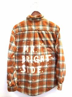 Mr. Brightside Shirt in Orange Plaid Flannel - The Killers Bleached Shirt. This indie music band shirt is one of a kind and unisex. Bambiandfalana.com