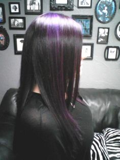 Pravana vivids violet highlights to Sas up dark hair Violet Highlights, Black Hair With Highlights, Hair Highlights, Purple Hair, Purple Streaks, Hair Tattoos, Hair Dye Colors, Haircut And Color, Rainbow Hair