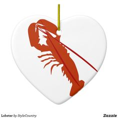 Lobster Double-Sided Heart Ceramic Christmas Ornament