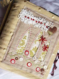 art quilt journal, three windows (sold)