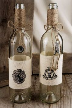 chalk painted wine bottle vasestorches123 on etsy | home sweet