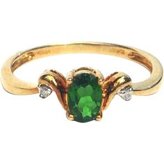 Oval Chrome Diopside Ring with Accent Diamonds and 10K Yellow Gold Band