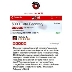 We received a new  review on yelp by Nichole in San Pedro CA. Visit our website (link in bio) to learn more. --- #300DollarDataRecovery #LosAngeles #Yelp #HardDrive #DataRecovery #StudioCity