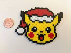 Christmas Santa hats: Mickey Mouse, Pikachu, Jack Skellington Nightmare Before Christmas Perler Beads decorations Fuse Bead Patterns, Perler Patterns, Beading Patterns, Perler Bead Disney, Perler Bead Art, Hama Beads Pokemon, Christmas Perler Beads, Pikachu, Pixel Art
