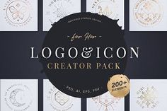 Logo & Icon Creator Pack Create unlimited designs with this beautifully, crafted Logo, Icon and Submark Creator Pack. With build your own elements or ready designed logos, icons and submarks for you to choose from.  #goldenratio #logocreator #logo