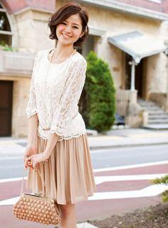 Lace top + pleats