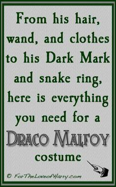 I've gathered all the items you need to create a Draco Malfoy costume! http://fortheloveofharry.com/draco-malfoy-costume/ #dracomalfoy #dracomalfoycostume #dracocostume
