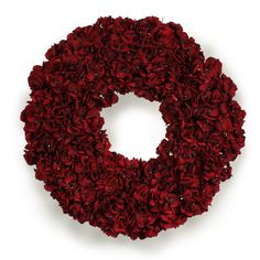 """CRANBERRY RED HYDRANGEA WREATH 30"""" – Winward Designs. How can you not love this wreath?"""