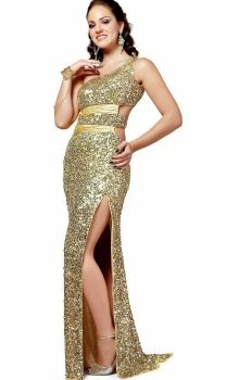 Gold One Shoulder Long/Floor-length Natural Prom Dress PD3980