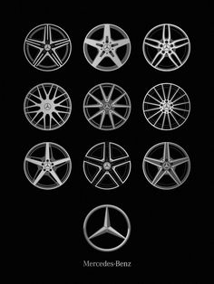 """Current wheel designs contrasting with the beautiful simplicity of the Mercedes-Benz logo. Size: 18"""" x 24"""" Ink: Metallic Silver and Metallic Dark Gray Paper: Blacktop 100# Construction Cover by French"""
