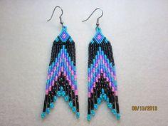 Native American beaded earrings Pink, Purple, Black & Turq