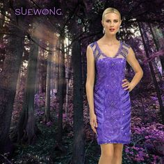 Sue Wong sleeveless illusion strap sheath cocktail dress with all over suetache and beading… #teamsuewong #suewong #fashion #hautecouture #couture #picoftheday #glamorous #colorful