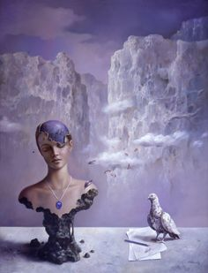 Blue - azul - woman - bird - painting - pintura - alberto pancorbo - Deseos petrificados. Oleo sobre lienzo 130x97 cm