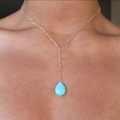 Turquoise Gold Filled or Sterling Convertible Lariat Necklace  $81.76