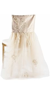 Wildflower Linen - CHAIR COVERS in cream tulle and lace... #timelesstreasure.theaspenshops