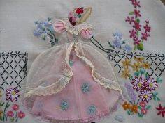 Hand Embroidered Lady Flowers Tea Cozy..