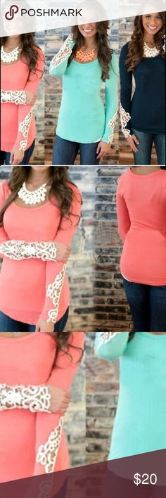 Peach new top lace detail small Peach new top lace detail small Tops Blouses