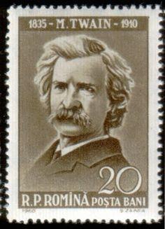 Literary Stamps  Romania : Twain, Mark (1835–1910) ROMANIA - CIRCA 1960: