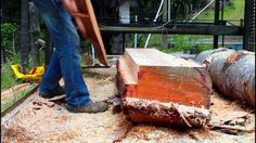 Home made twin blade sawmill in action Lumber Mill, Wood Mill, Woodworking Planes, Woodworking Projects, Douglas Fir Tree, Chainsaw Mill, Post And Beam, Cabin Plans, How To Make Shorts