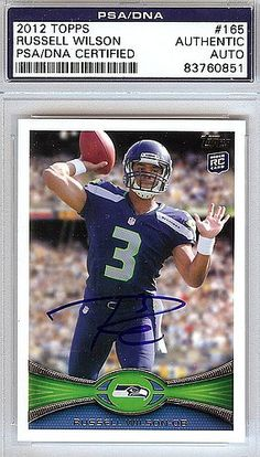 Certified Russell Wilson Signed 2012 Topps Rookie Card #165 Seattle Seahawks – PSA/DNA Authenticated – NFL Football Merchandise