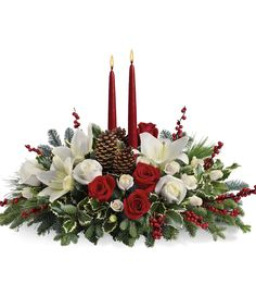 Order Christmas Wishes Centerpiece from Villere's Florist, your local Metairie florist. Send Christmas Wishes Centerpiece for fresh and fast flower delivery throughout Metairie, LA area. Christmas Flower Arrangements, Christmas Table Centerpieces, Christmas Flowers, Flower Centerpieces, Christmas Wishes, Christmas Wreaths, Christmas Decorations, Christmas Christmas, Decoration Table