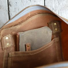 The Daybag in Spice Waxed Canvas and WWII leather by by PegandAwl