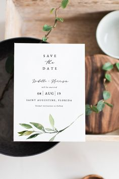This wedding save the date template features a minimal greenery leaf and elegant serif fonts. Use this template to edit the fonts, font color, and background color to match your event needs.  This template can be accessed through TEMPLETT.COM; an online editor where you can edit without downloading