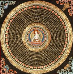 Beautiful Mandala - with Syllable Mantra and the Divine Tara at the center. Order your Tibetan Thankga Mandala @ traditionalartofnepal.com #Mandala #Tara